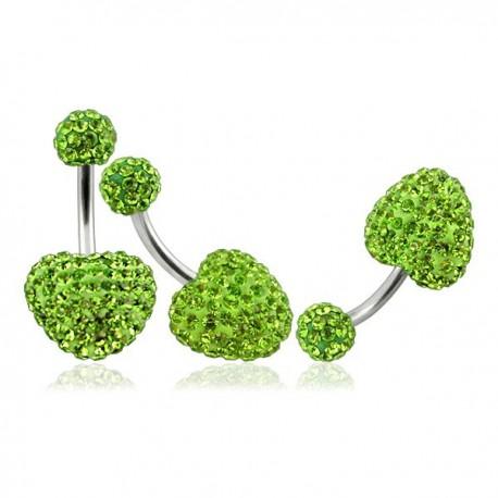 piercing no umbigo coração de cristal verde