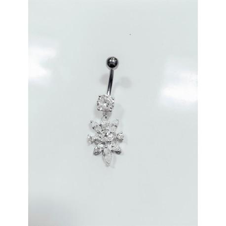 Piercing no umbigo pingente de flor de prata